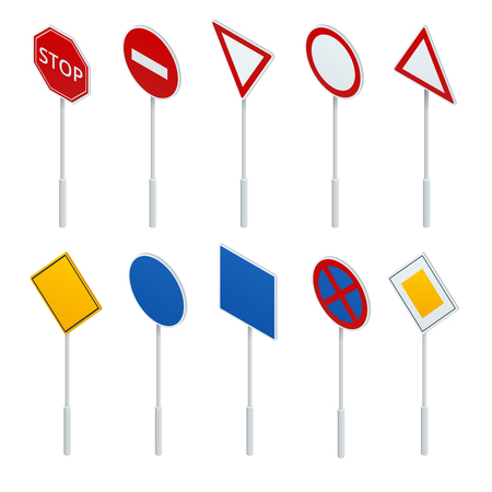 alerts: European traffic signs collection. Signs of danger. Mandatory signs. Signs of obligations. Signs of alerts.