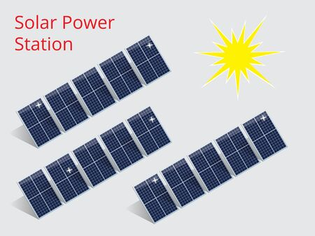 solar power station: Vector isometric illustration of a solar power station. Extraction of energy from renewable sources. Generation of electricity using solar energy.