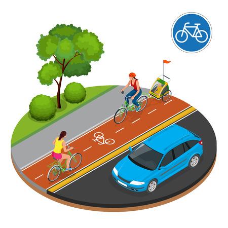 I ciclisti in città. In bicicletta sulla pista ciclabile. cartello stradale biciclette e ciclisti. Piatto 3d isometrico illustrazione vettoriale. La gente andare in bicicletta. Fitness, lo sport, le persone e il concetto stile di vita sano.