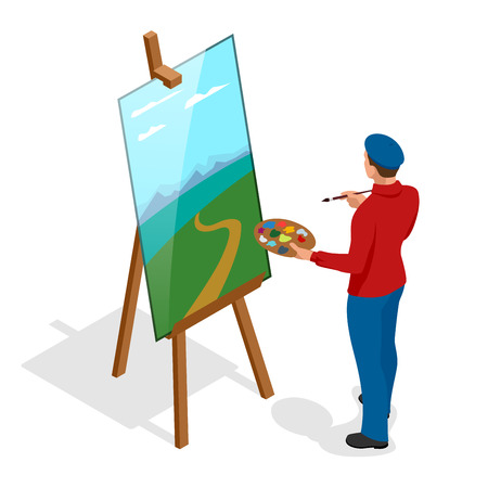 Isometric Artist painter at work easel palette. Flat 3d infographic concept vector template. Vettoriali