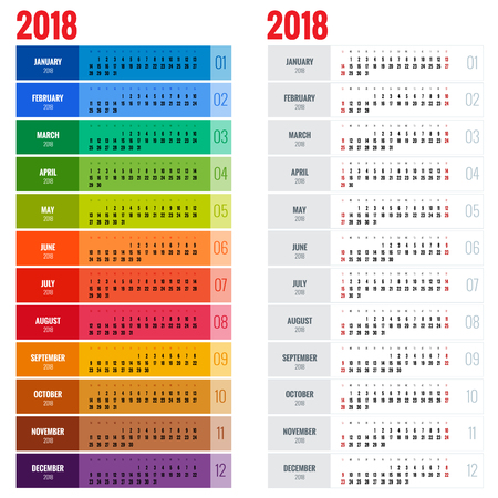 yearly: Yearly Wall Calendar Planner Template for 2018 Year. Vector Design Print Template. Week Starts Sunday Illustration