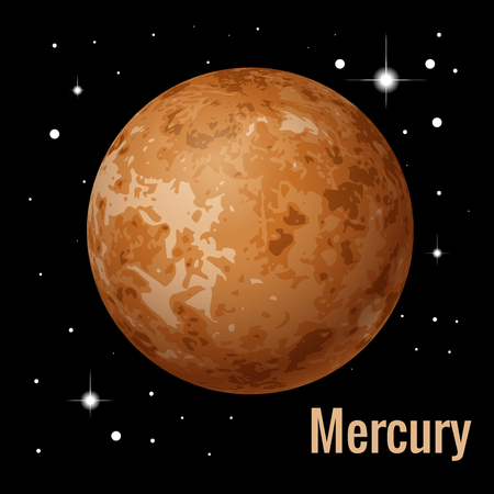 Mercury planet 3d vector illustration. High quality isometric solar system planets