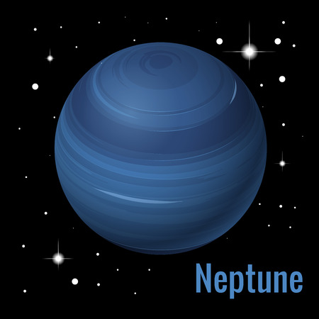 Neptune planet 3d vector illustration. High quality isometric solar system planets  イラスト・ベクター素材