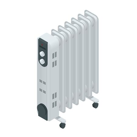 home heating: White oil heater with screen controls, isolated on a white background. Home Heating appliances icons. Household appliances. Isometric vector oil heater Illustration