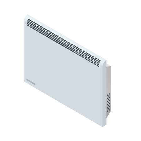 appliances icons: Isometric white Convector Heater. Home Heating appliances icons. Household appliances