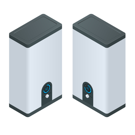 temp: Isometric Home electric heating boiler. Home Heating appliances icons. Household vector appliances