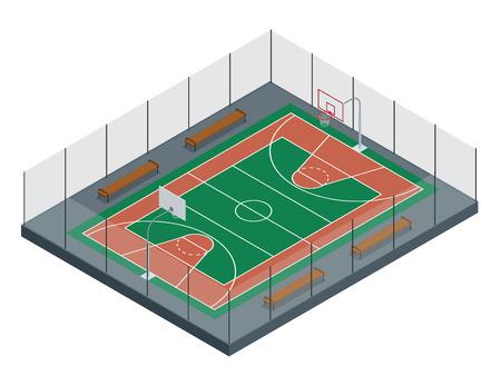 long distance: Basketball court. Sport arena. 3d render background. unfocus in long shot distance.