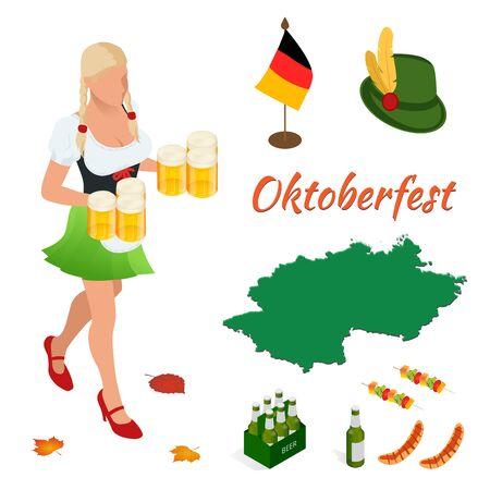 bavarian: Oktoberfest celebration design with Bavarian hat and autumn leaves
