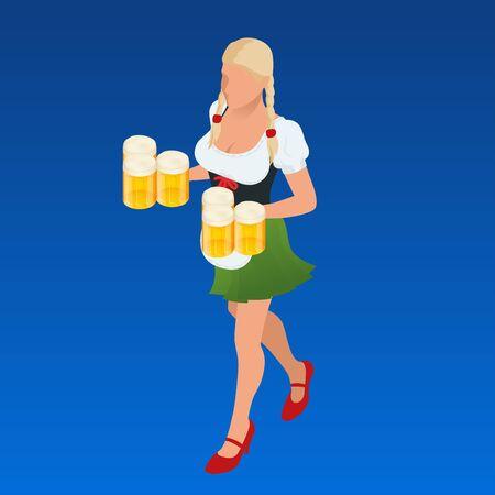 Waitress Bavaria wit beer mugs decorated. Isometric vector people. Illustration