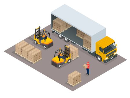 motor vehicle: Logistics concept. Loading cargo in the truck. Delivery service vector isometric illustration. Infographic element or icon representing box truck and forklift loading pallets with cardboard boxes.