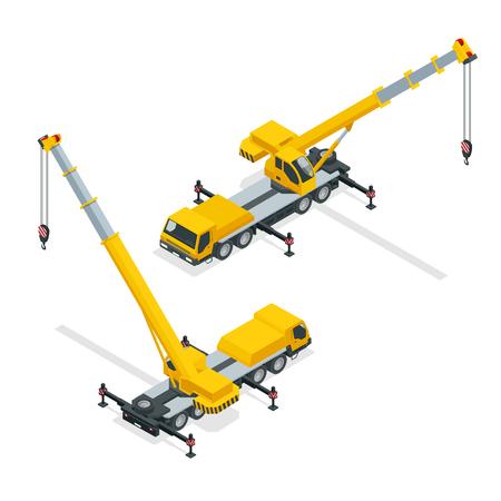 Ilustración detallada de la grúa, equipo pesado y maquinaria