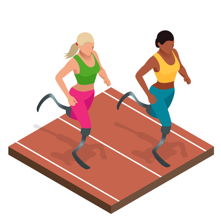 handicap: Isometric sports for peoples with disabled activity. Handicapped sportsmen. Athlete with handicap at the stadium.