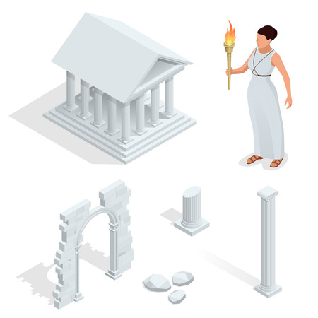 greek goddess: Isometric Greek temple, Greek goddess of beauty Aphrodite. Acropolis of Athens ancient monument in Greece. Flat cartoon style historic sight showplace attraction web site vector illustration