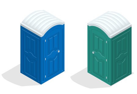 Isometric bio toilet cabin. Blue and green. Hiking services. Flat color style vector icon. Vetores