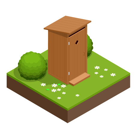 Isometric wooden bio toilet cabin. Hiking services. Flat color style vector icon. Illustration