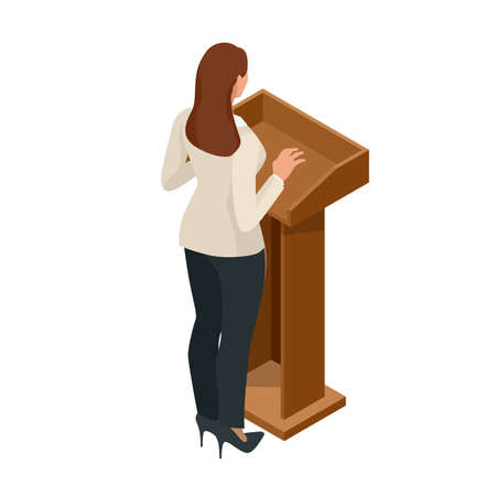 conventions: Business woman giving a presentation in a conference or meeting setting. Orator speaking from tribune vector illustration.