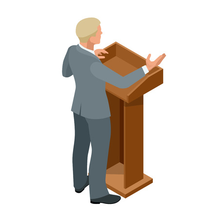 orator: Business man giving a presentation in a conference or meeting setting. Orator speaking from tribune vector illustration
