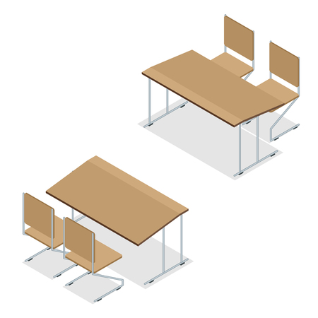 comfort classroom: Isometric Wooden school desk and chair isolated on white Illustration