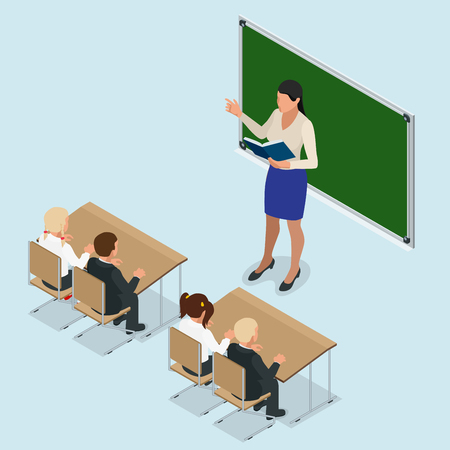 first grade: sometric School lesson. Little students and teacher. Isometric Classroom with green chalkboard, teachers desk, pupils tables and chairs. Flat 3d cartoon illustration