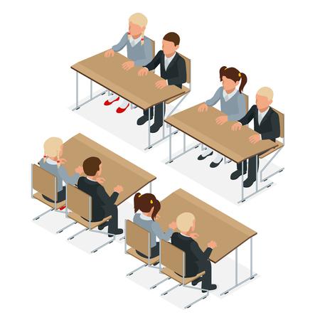 School lesson. Little students. Isometric Classroom. Flat style cartoon illustration Illustration
