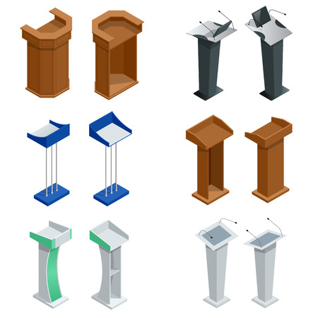 tribune: Isometric rostrum, podium, tribune with microphones Vector illustration Illustration