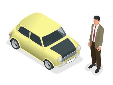 Isometric Classic mini model car and man closeup view isolated on white background