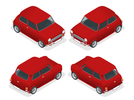mini car: Isometric Mini car model closeup view isolated on white background