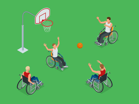 Isometric Active healthy disabled men basketball players in a wheelchair detailed sport concept illustration background vector.