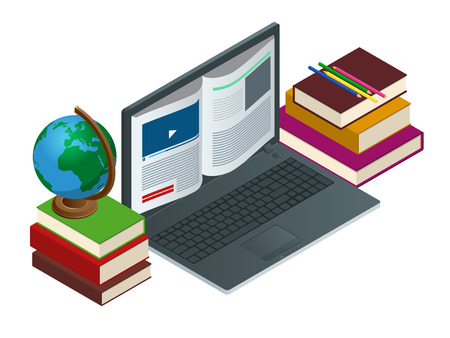 cognizance: IT Communication or e-learning or internet network as knowledge base concept. Education technology flat illustration using laptop for distance elearning studying and education. Vector illustration Illustration