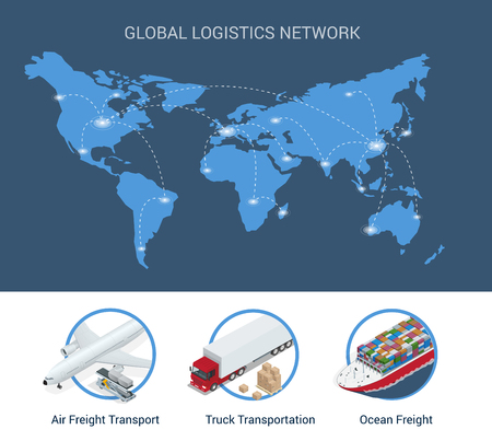 global logistics: Global logistics network Flat 3d isometric vector illustration Set of air cargo trucking rail transportation maritime shipping On-time delivery Vehicles designed to carry large numbers.