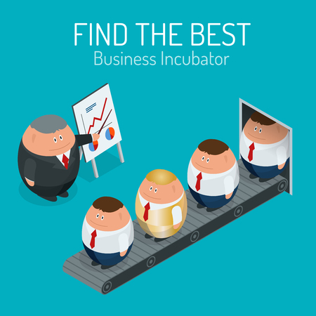 incubation: Business incubator Concept. Find the best start up. Flat 3d vector isometric illustration