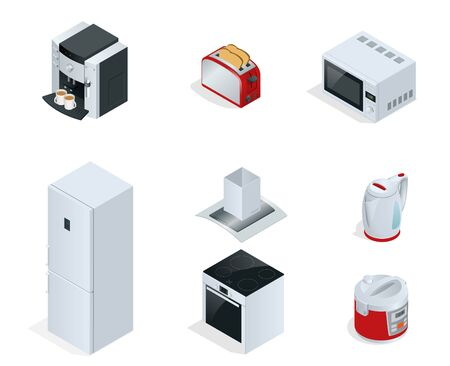 home appliances: Isometric Home appliances. Set of household kitchen technics Coffee maker, toaster, microwave, kettle, multivarka, fridge, induction hob, extractor isolated on white. Vector Illustration