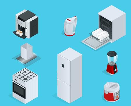 Isometric Home appliances. Set of household kitchen technics dishwasher, gas stove, coffee maker, blender, kettle, fridge, multivarka, extractor, crockery