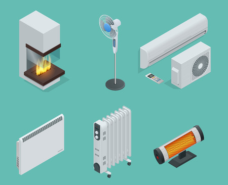 Home climate equipment isometric icon set fireplace, oil heater with screen controls, Convector Heater, electric heater, Infrared heater, conditioner, Fan. Vector Illustration