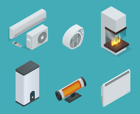 Home climate equipment isometric icon set fireplace, Convector Heater, electric heater, Infrared heater, Boiler, air conditioner. Vector Illustration