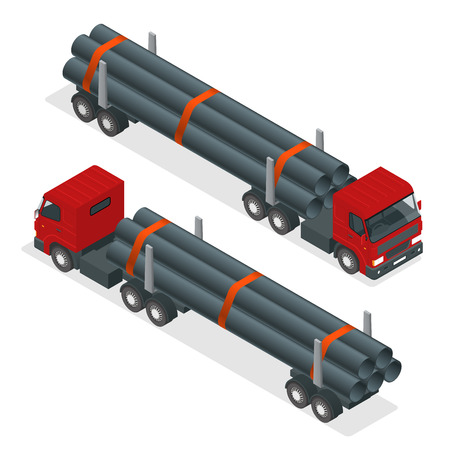 Isometric Truck tractor with flatbed trailer hauling pipe. Vector infographic element Vectores