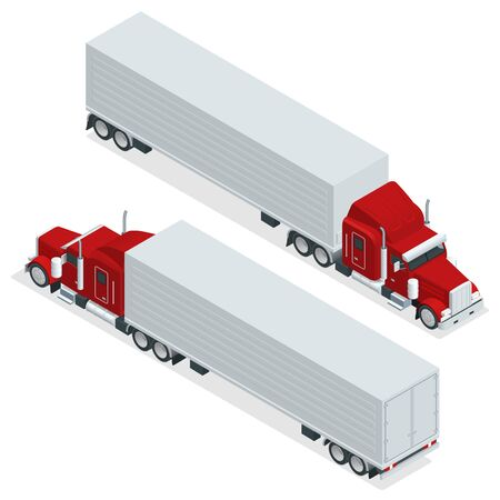 loads: Isometric American Show truck tractor. Transporting large loads over long distances. Logistics network. Intermodal freight transport