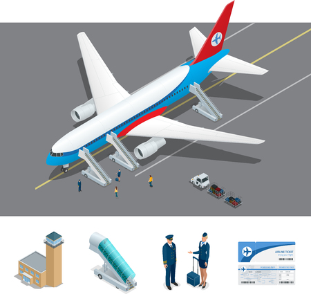 airlines: Vector Isometric representing airport, jet airplane, ground support vehicles and equipment. Airport, aircraft runway airline pilot stewardess, airport terminal, baggage, international airlines. Illustration