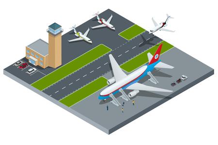 벡터 공항, 제트 비행기, 지상 지원 차량 및 장비를 나타내는 아이소 메트릭. 공항, 항공기 활주로 항공 조종사 스튜어디스, 공항 터미널, 수화물, 국제 항공사.