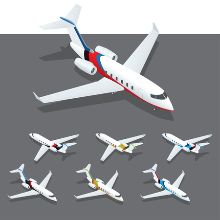 Isometric private jet. Isometric infographic elements set representing commercial passenger airplanes. Different classes of jet and propeller engine airplanes in flat style