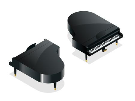 Isométrique noir piano à queue. Isolé sur fond blanc
