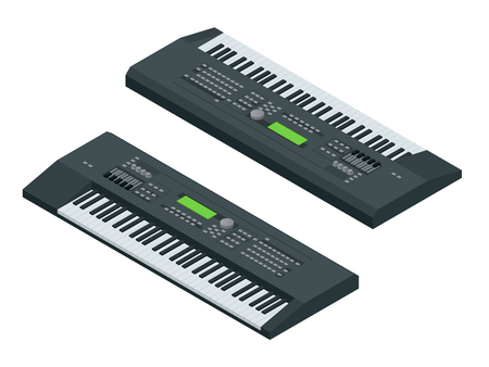 electronic background: Isometric electronic synthesizer isolated on white background