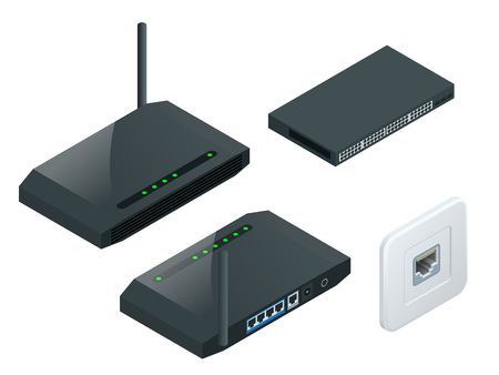 Isometric Wireless wifi router with one antennas isolated on white background. High speed internet connection, computer network and telecommunication technology.