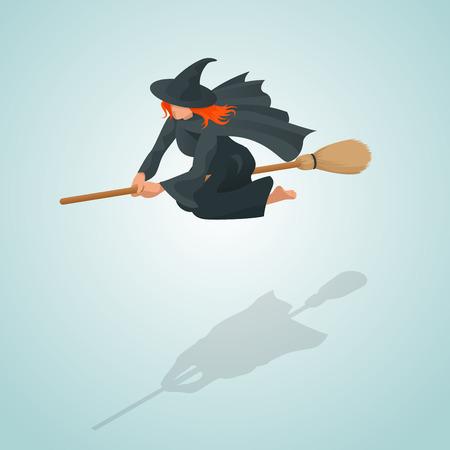 Isometric szpilki czarownicy latanie na jej miotle.