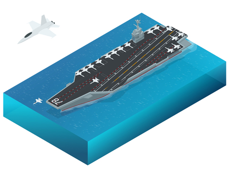 us air force: Aircraft assigned to the nuclear-powered aircraft carrier. Isometric vector american Navy Nuclear Aircraft carrier
