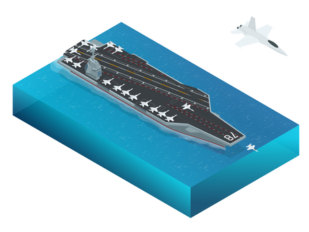 aircraft carrier: Aircraft assigned to the nuclear-powered aircraft carrier. Isometric vector american Navy Nuclear Aircraft carrier