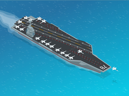 assigned: Aircraft assigned to the nuclear-powered aircraft carrier. Isometric vector american Navy Nuclear Aircraft carrier