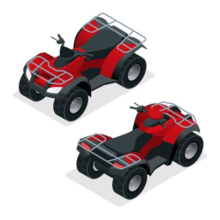 quad bike: Quad bike ATV isometric vector illustration. ATV motocross bike icon.