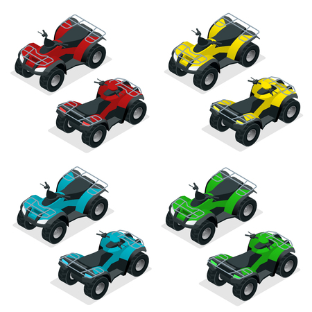Quad bike ATV isometric vector illustration. ATV motocross bike icon.