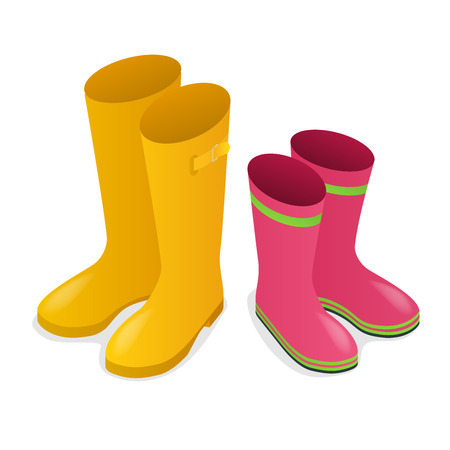 Isometric yellow and pink rubber boots isolated on white background